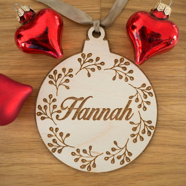 2018 Personalized Christmas Ornaments Engraved Christmas Ornament Flower Tree Decoration Christmas Gifts for Her Him Couples-in Party Favors from Home ...