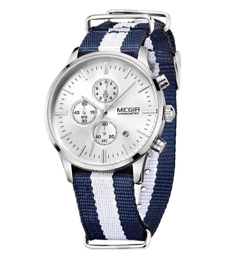 e0a78900bec6 Aliexpress.com  Comprar Megir 6 mano lienzo impermeable analógico reloj  para hombre marca de lujo fecha de cuarzo casual Sport relojes hombre reloj  hodinky ...