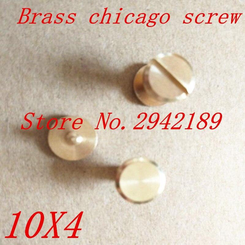 50 компл. 10*4 мм falt, латунь Чикаго Заклёпки шпильки винт Screwback для кожи Craft Сумки Обувь