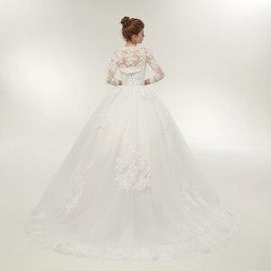 Image 4 - Fansmile שתי חתיכה ארוך שרוול מעיל חתונה שמלות 2020 בתוספת גודל כלה כדור כותנות Vestido de noiva Robe De Mariage FSM 122T