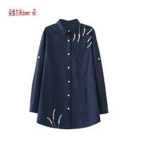 Big Size Women Embroidered Blouses Cotton Blue Long Sleeve Shirt Turn Down Collar Top Camisas Femininas