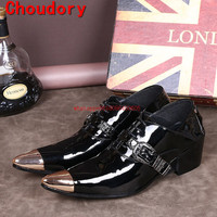 Pointed Gold Toe Mens Dress Shoes Business Casual High Heels Fashion Patent Leather Mens Black Wedding