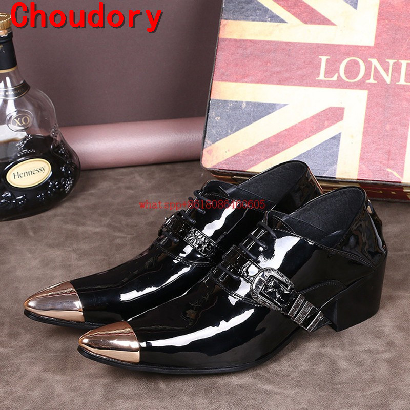Chaussure mariage gold mens pointed toe dress shoes patent genuine leather italian loafers for men high heel formal shoes men choudory new winter men ankle italian shoes men leather shoes pointed toe mens black dress shoes sequined toe spiked loafers men