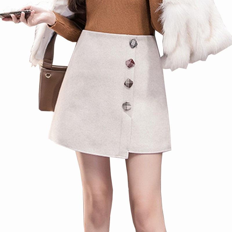 98a8731012e 2019 Autumn Winter Retro Woolen Plaid A Word Skirt Women College Wind Women s  Skirt High Waist ...