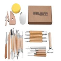 30Pcs/set Wood Handle Clay Sculpting Wax Carving Pottery Tools,Metal Double Sided Tool Kit for Carving,Trimming,Chipping