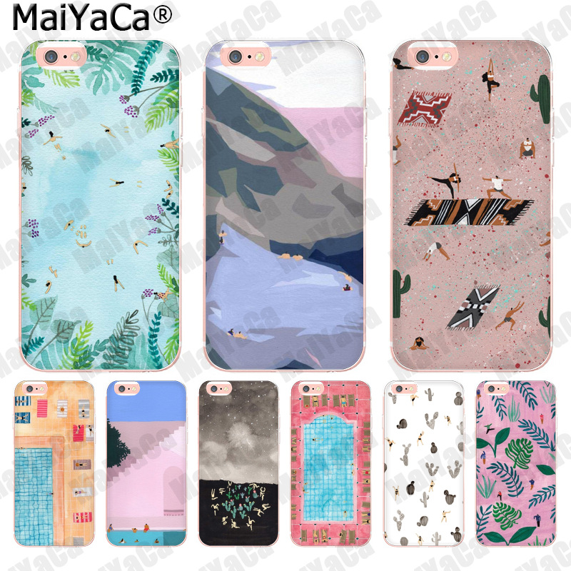 MaiYaCa Funny illustration summer sky swimming pool Amazing new arrival phone case for iPhone 8 7 6 6S Plus X 10 5 5S SE 5C 4 4S