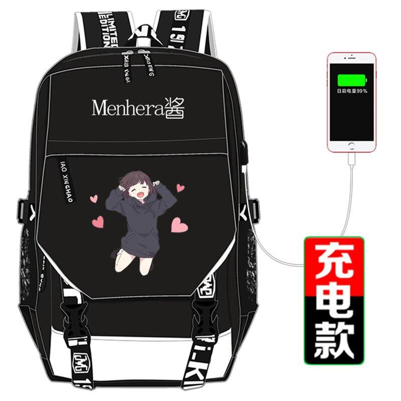 Kawaii Emoji Menhera Chan Printing Backpack USB Charging Laptop Backpack Canvas School Bags for Teenage Girls