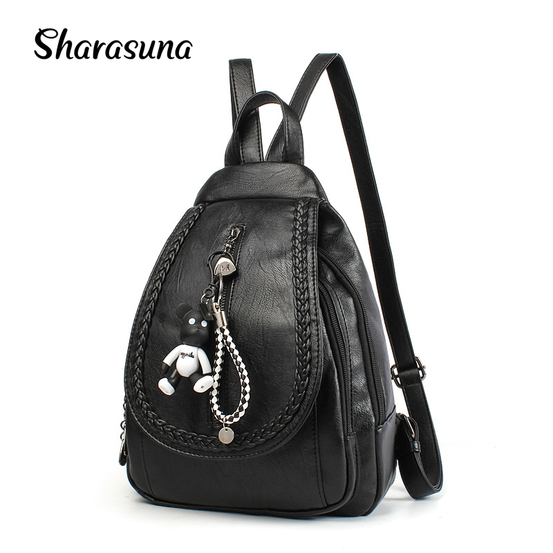 53ac32994df US $27.9 40% OFF|2018 New fashion women faux leather backpacks for for  teenage girls high school and college bag schoolbag backpack mochila-in ...