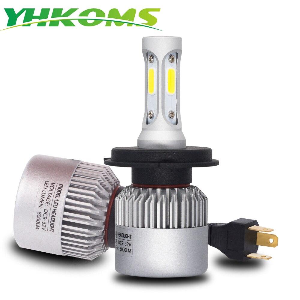 YHKOMS H4 LED Ampoule H7 H1 H3 H8 H9 H11 H13 9005 HB3 9006 HB4 880 881 H27 9004 9007 auto Projecteur 8000LM COB Voiture Lumière LED Lampe