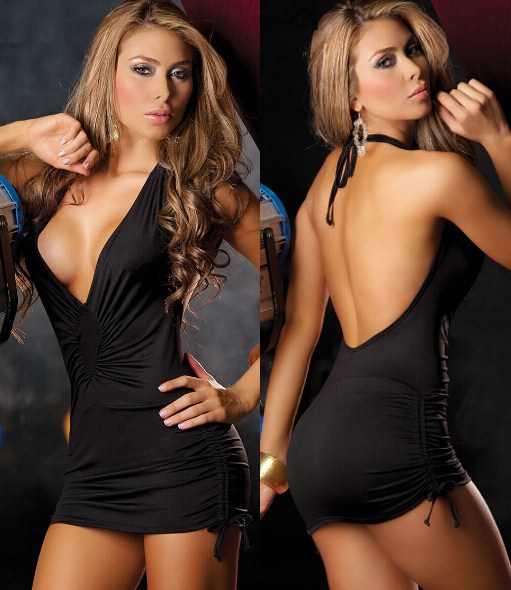 836bd46bc0 Low Cut Mini Dress with Cinched Ties on Sides 20046-in Dresses from Women s  Clothing on Aliexpress.com