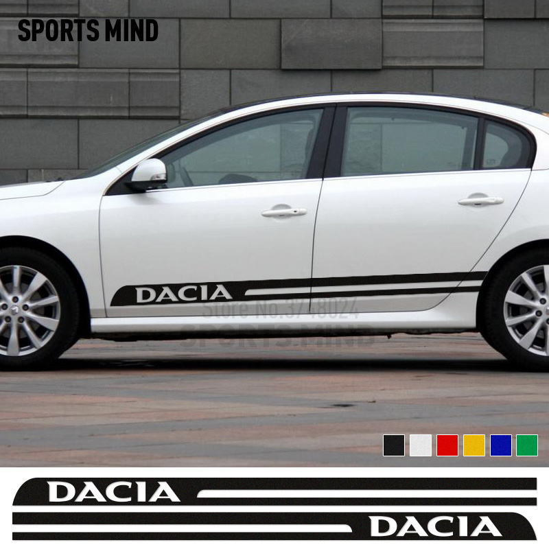 1 Pair Sports Mind Car Styling Car Door sticker decal For Renault dacia duster logan sandero stepway lodgy dokker accessories