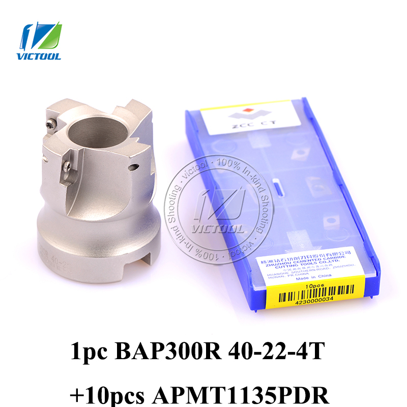 Free Shiping 1pc BAP300R-40-22-4T Milling tool with 10pcs milling insert APMT1135PDR Face Mill Shoulder Cutter BAP 300R 40-22-4T