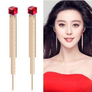 Watercubic Tel Red Blue Crystal Earring Female Fashion Long Earrings Design Bride Dress