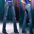 Elastic plus size slim butt-lifting boot cut denim female bell-bottom jeans female trousers  q0922