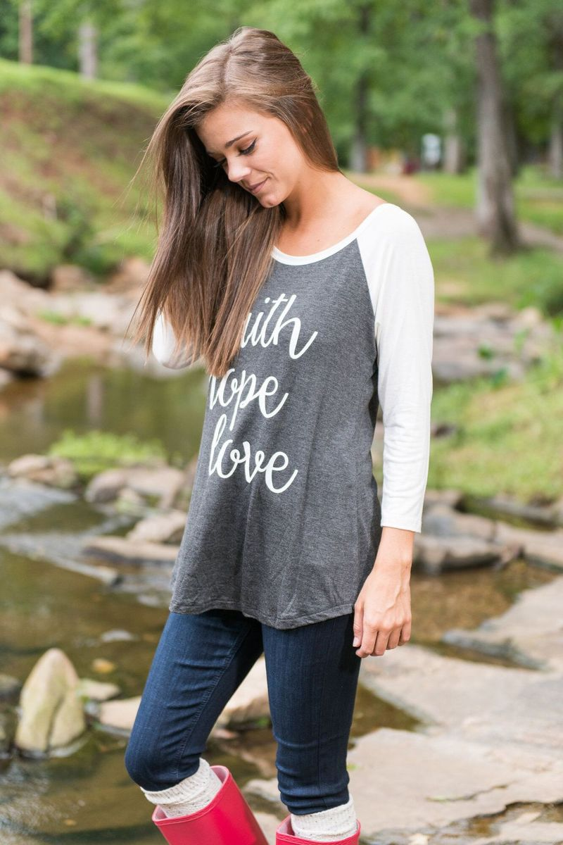 New Women T shirts Faith Hope Love Tee Top Womens Fashion O neck Long Sleeve Female Tshirt Tops Patchwork Loose Tee Shirt in T Shirts from Women 39 s Clothing