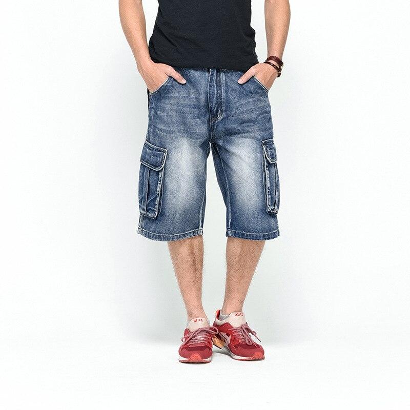 New Arrival Mens Denim Shorts plus size Male Fashion Shorts Multi-pocket Cargo Shorts Washed Blue Short Pants Men Jean 2018