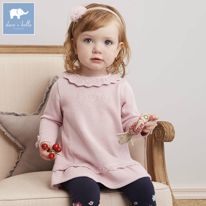 DB5627 dave bella infant baby girls princess dress kids fashion wedding birthday dress children toddle knitted sweater dress db1553 dave bella summer baby dress infant clothes girls party dress fairy dress toddle 1 pc kid princess dress