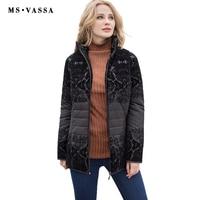 MS Vassa Для женщин куртка 2017 мода осень-зима Дамы Повседневная куртка с из флока с отложным воротником Большие размеры S-7XL верхняя одежда