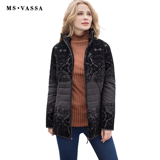 MS Vassa женские куртки 2017 мода осень-зима Дамы Повседневная куртка с из флока с отложным воротником Большие Размеры S-7XL верхняя одежда