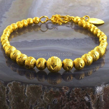 Fashion Bracelet Carved Beads Women Solid 18K Yellow Gold Plated Ball Shape Alluvial Gold Bracelet Bangle Jewelry Wholesale