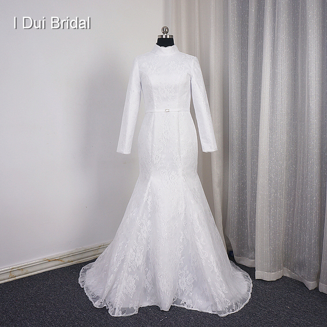 Long Sleeve High Neck Wedding Dress Match Hijab Mermaid Lace Simple ...