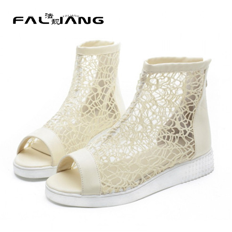 ФОТО Free Shipping Summer Mesh Cut Out Platform Peep Toe Back Zipper Womens Ankle Boots Gladiator Sandals Shoes Plus Size EUR35-43