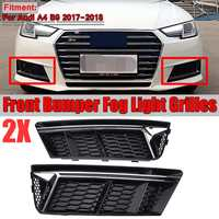 A4 B9 2x Car Front Bumper Fog Light Grille Grill For Audi A4 B9 2017 2018 Fog Light Lamp Cover Honeycomb Mesh Hex Side Grille