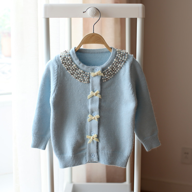 Toddler Kids Girls Knitted Cardigan Jacket Tops for Children 1 6yrs Solid Beading Collar Sweet Sweater