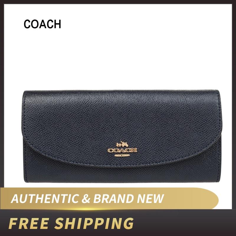 New Authentic Coach F54009 Slim Envelope Crossgrain Leather Wallet Black