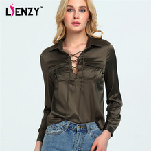 LIENZY 2016 Summer Elegant Women Amy Blouse Bandage Long Sleeve Polo Neck Deep Neck ladies office shirts With Pocket Clothes