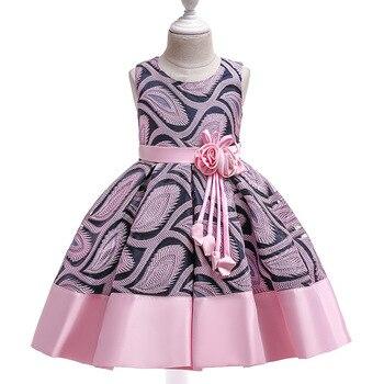 9c4fc7627 Vestido niña 2018 niñas de verano sin mangas de moda Jacquard vestidos  adolescentes ropa de fiesta vestido de princesa para niña de 2-10 años