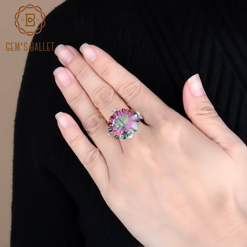 GEM'S BALLET Natural Rainbow Mystic Quartz Cocktail Ring 925 Sterling Silver Irregular Gig Gemstone Rings Fine Jewelry for Women