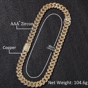 Image 2 - Colliers en zircone cubique, style Hip Hop, AAA, pierre CZ glacée carrée, lien cubain, chaîne Chokers pour hommes, bijoux de rappeur