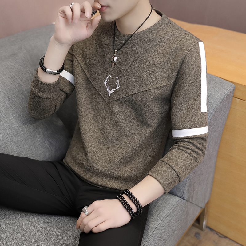 2020 Autumn Thin Men Sweater Fashion Round Collar Knit Shirt Young Men Set Of Printing Color Matching Base Sweater