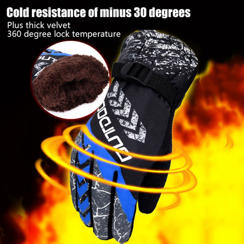 Men Women Waterproof Heated Winter Warm Skiing Gloves Windproof Thickening Outdoor Sport Riding Motorcycle Snowboard Ski Gloves