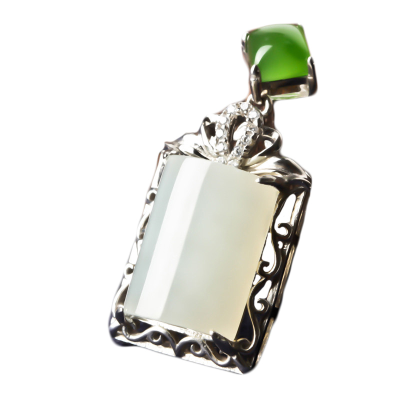 Natural Hetian Jade Pendant s925 Silver Jade Necklace Chinese style Hand carved Lucky Amulet jewelry