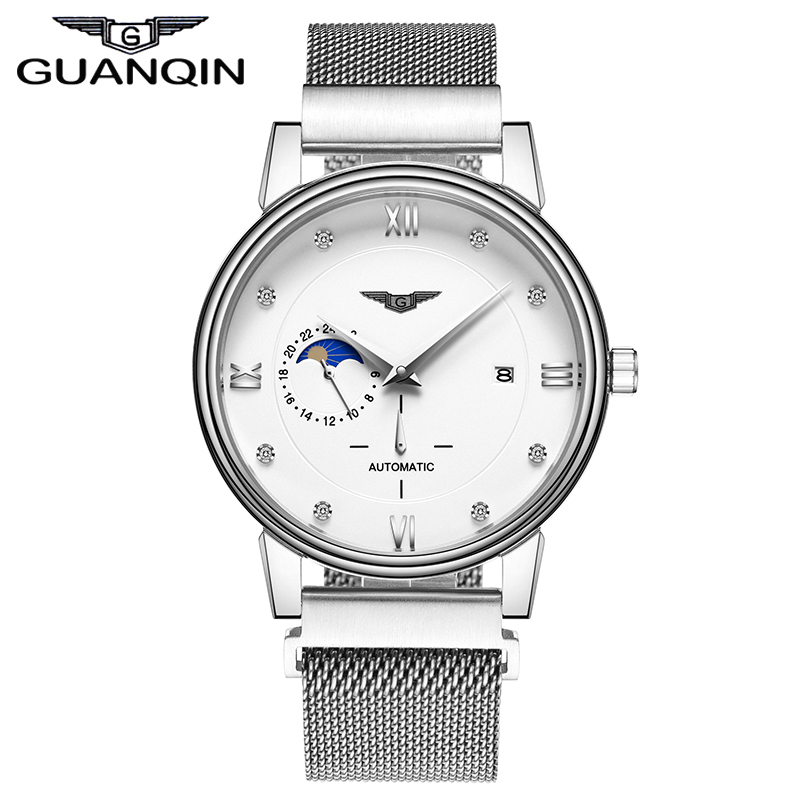 GUANQIN GJ16039 Automatic Mechanical Watches Self-winding Analog Man Watch Business Wristwatch Moon Phase Dial Rhinestone tevise fashion automatic watch men mechanical watches man self winding stainless steel band moon phase 24 hour clock n9036g