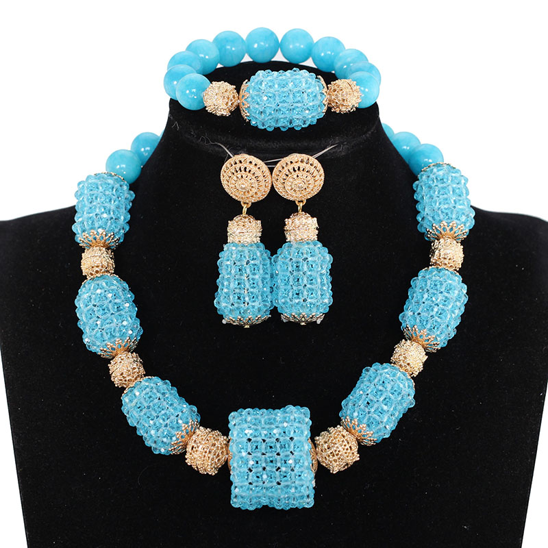 Мода цвет небесно-синий нигерийские Свадебные африканские бусы комплект ювелирных изделий Кристалл комплекты украшений из бисера ожерель...