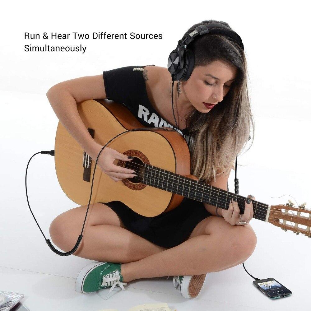 Casque d'écoute Bluetooth Fusion OneOdio, casque d'enregistrement Studio avec port partagé, moniteur professionnel filaire/sans fil - 3