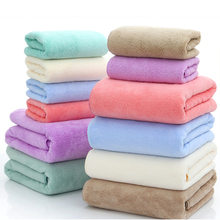 6 Color  Coral Fleece Bath Towel Plus Hand Soft Microfibre Beach Swim Washcloth Travel Accessories D30