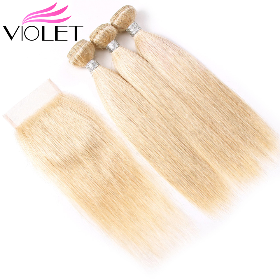 VIOLET 613 Blonde Bundles With Closure Brazilian Straight Hair Bundles With Closure Non Remy Human Hair