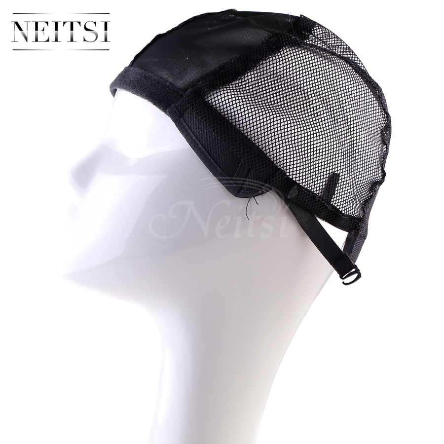 Neitsi Black Elastic Lace Wig Caps For Making Wigs With Adjustable Strap Bonnet Lace Perruque New Nylon Hairnet Snood 10pcs/pack
