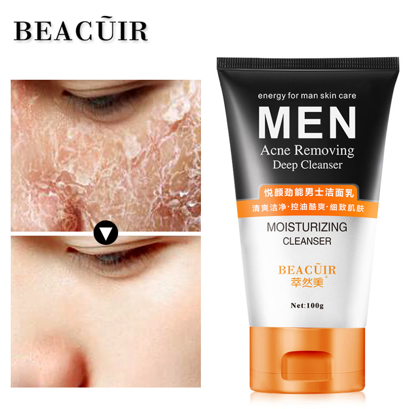 BEACUIR Man Facial Cleanser Anti Acne Breakout Wrinkle Reducing Face Wash for Clear Reduced Pores Oil control Face Cleansing