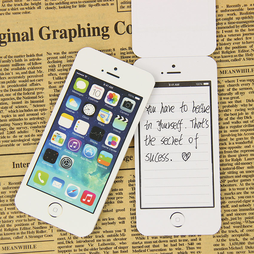 1PC White Fashion Sticky Note Paper Cell Phone Shaped Memo Pad Memo Pads Paper Note Pad
