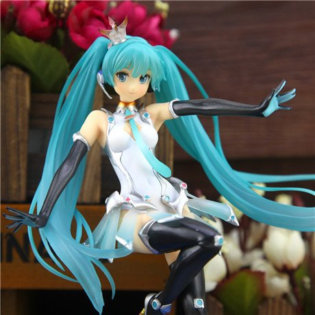20CM Japanese Anime Hatsune Miku Racing Girl PVC Action Figure Collectible Model Toy
