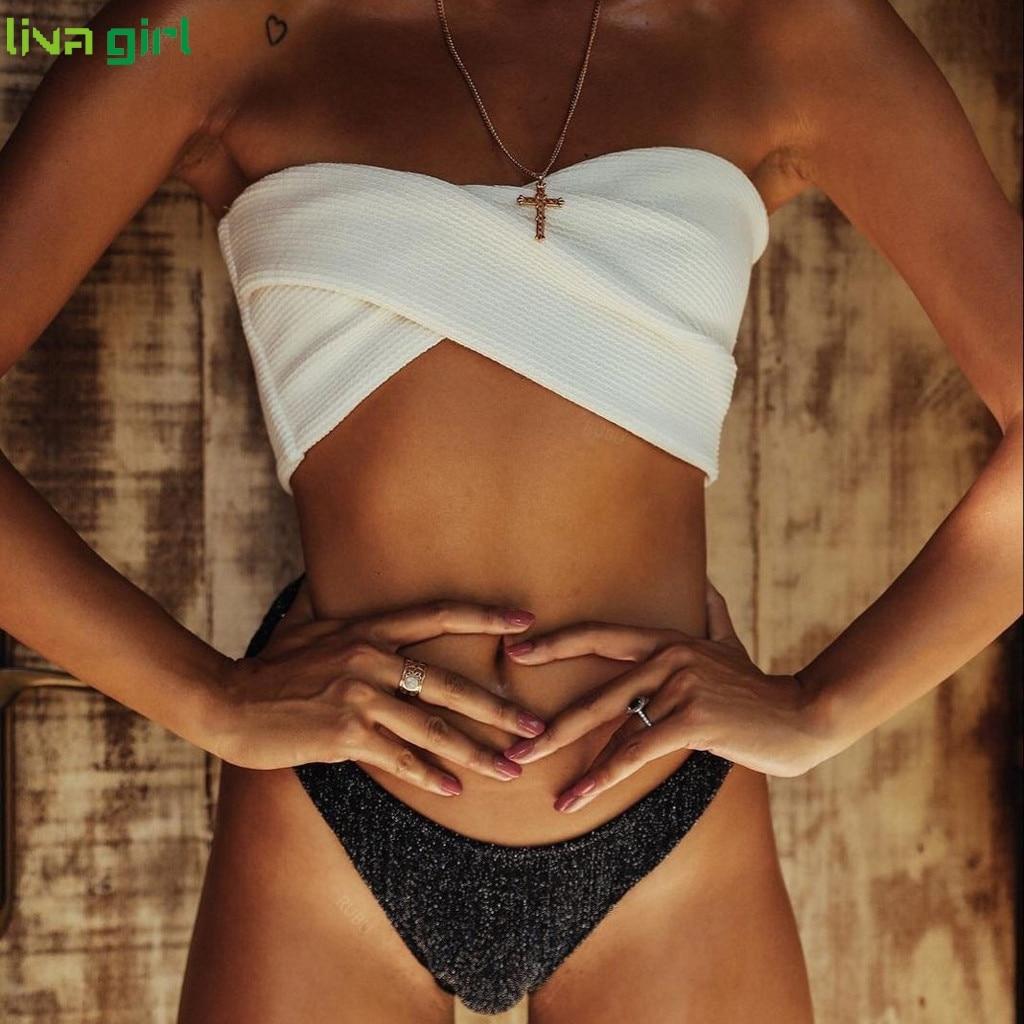 Liva girl Solid Bikinis Set Sexy New Swimsuit Push Up Bikini White Bathing Suits Brazilian Girls Swim Female Swimwear  D0813 1