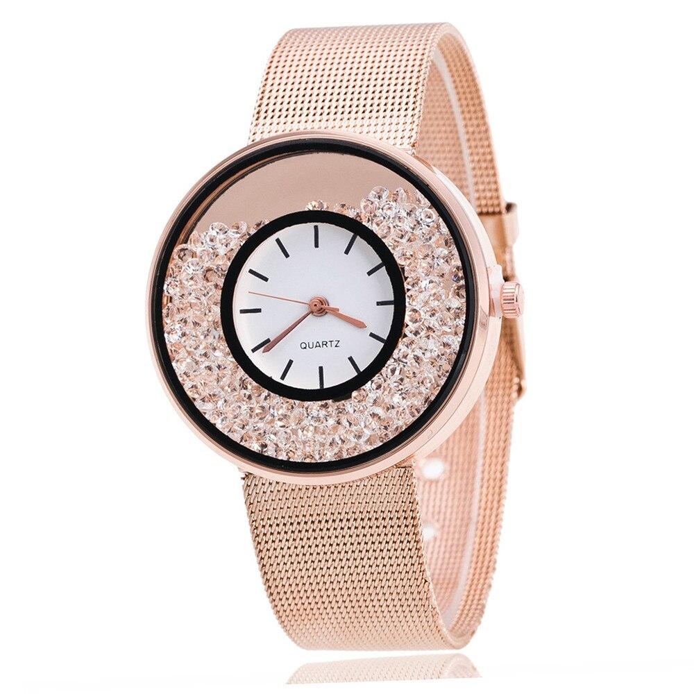 Hot Sale Fashion Stainless Steel Rose Gold & Silver Band Quartz Watch Luxury Women Rhinestone Watches Valentine Gift 2018 New