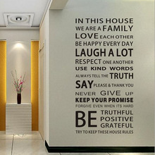 1pcs English Proverbs Wall Sticker Family House Rules Wall Stickers Decal Removable Decor Home Kids Great Gift Wallpapers