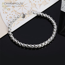 Pure 925 Silver Bracelets for Women Men 5mm Round Box Chain Bracelet & Bangles Wristband Fashion Jewelry Accessories Bijoux(China)