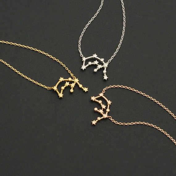 Pâquerettes en solde! 10 pièces/lot-verseau pendentif colliers signe du zodiaque astrologie Constellation déclaration collier bijoux cadeau